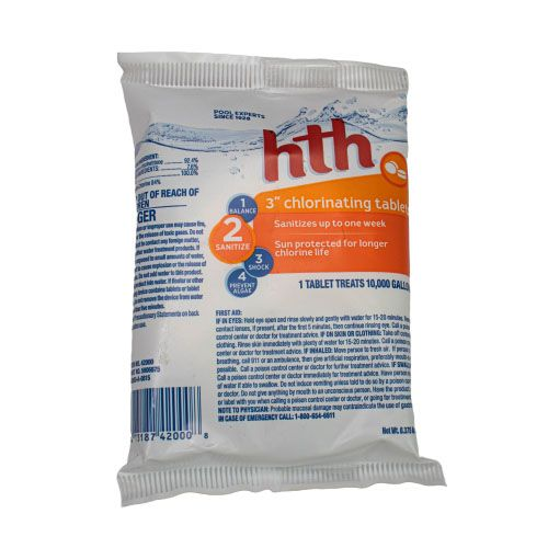 "HTH 3"" CHLORINATING TABLETS 6 OZ, 42000"