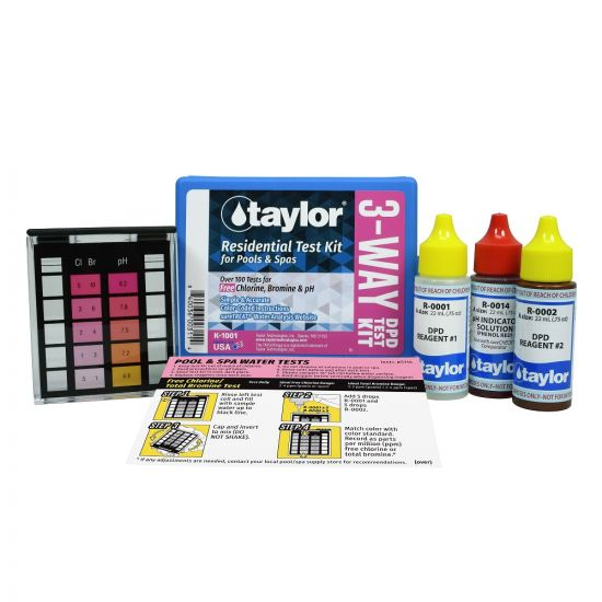 Taylor, 3-Way Test Kit for Free Chlorine, Bromine, pH (DPD), K-1001