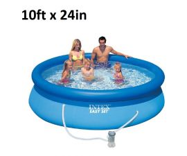 Intex, 10ft x 24in, Inflatable Above Ground Swimming Pool with Filter | 28117EH